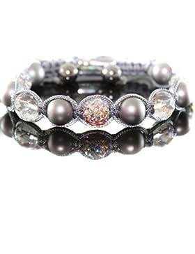 Damen Grau Crystal Rock Perlen Armband/Armschmuck Zircon für Frauen verstellbar