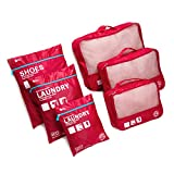 Eazeehome 7pcs Organisateur de Bagage de Sac Voyage Emballage Cubes Rangement pour Vêtement sous-Vêtement Chaussures Cosmétique (Rouge)