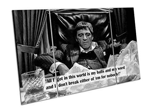 Schwarz & Weiß Kunstdruck auf Leinwand Zitat American Gangster Tony Montana Scarface, schwarz / weiß, Large Split