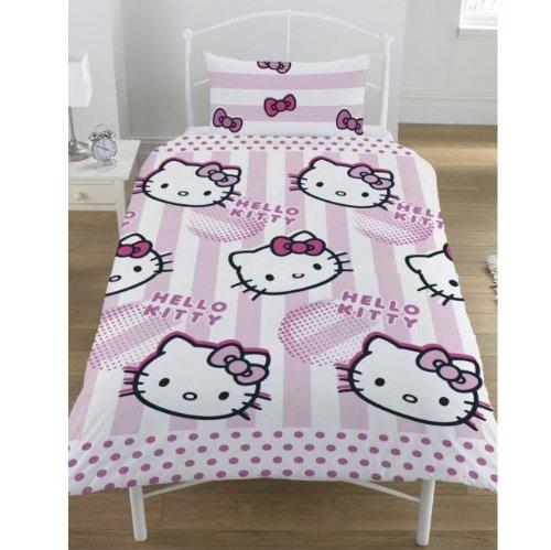 Funda Nordica Juego Hello Kitty Candy Stripe Cama 90 Edredon Sabanas Ropa...