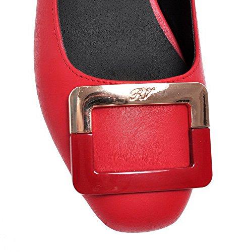 VogueZone009 Donna Luccichio Puro Tirare Punta Quedrata Punta Chiusa Tacco Basso Ballerine Rosso