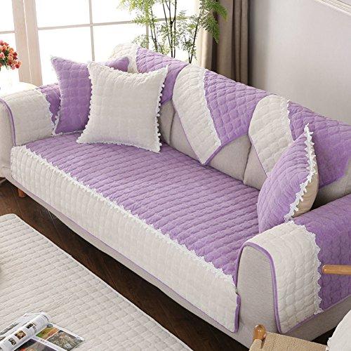 Jiaqi divano copre per divano in pelle,peluche anti-scivolo coprisofà,mobili protector per 1 2 3 4 cuscini divano fodera per divano a braccio-porpora 110x240cm(43x94inch)
