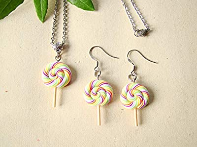 Coffret cadeau anniversaire, collier et boucles d'oreilles sucettes multicolores, bijoux enfants fimo
