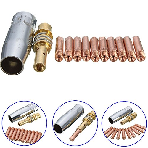 lzn Nozzleshroud 12Pcs MB 15AK MIG / MAG Schweißen Kontakt Tipps 0.8x25mm M6 Gas Düse Tip Halter Gas geschützte Schweißbrenner Zubehör