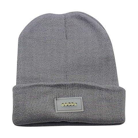 Ebilun 5LED Strick Warm Hut Hände Freie Taschenlampe Cap für Klettern Angeln Radfahren Grau