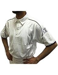 Sólo Cricket ropa jugadores juego de manga corta camisa de color blanco talla S, M, L, XL y XXL, color blanco, tamaño mediano