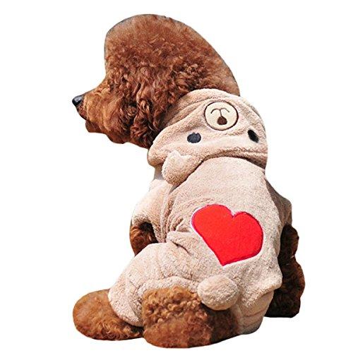Gefrorene Kostüm Hunde - Hundehoodie, Legendog Hund Overall BäR Muster Korallen Samt Hund Jacke Warm Pet Kleidung FüR Kaltes Wetter S