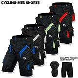 Mountainbike-Shorts / kurze Radhose, gefüttert mit CoolMax-Polyesterfasern, erhältlich in verschiedenen Größen, Herren, Black & HI-VIZ Green