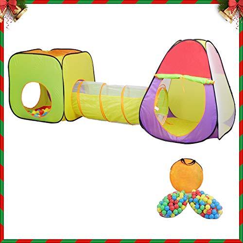 MC Star 3 teiliges Kinderzelt Spielzelt Mädchen mit Tunnel 200 Bällen Tasche Bällebad für drinnen draußen Garten, Kinderspielzelt Spielhaus Zimmerzelt Prinzessin im Kinderzimmer,Pop Up, Bunte Farbe