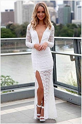 Long White Halter Dress - YLSZ-Ladies fashion lace collar pendulum type V