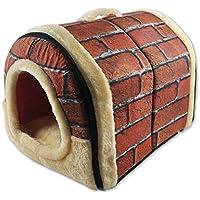 ANPI 2 en 1 Casa y Sofá para Mascotas, Ladrillo Rojo Lavable a Máquina Casa Nido Cueva Cama de Perro Gato Puppy Conejo Mascota Antideslizante Plegable Suave Calentar Con Cojín Extraíble, Medio