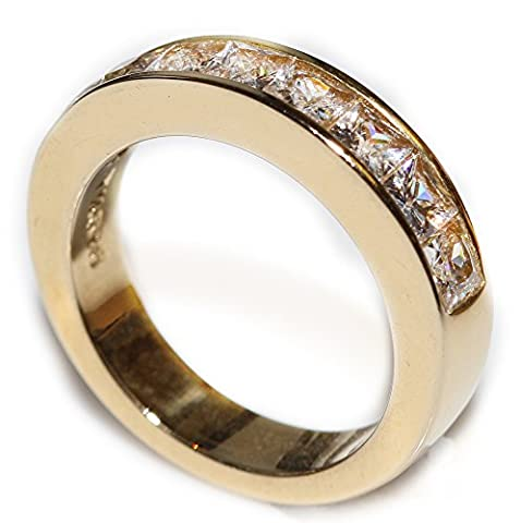 Ah! Jewellery Classy Simulated Diamonds Princess Cut Band. 4.7GR Total Weight. 4MM Total Width. Appealing Gold Over Stainless Steel. Stamped 316. Never Tarnish Guarantee. Excellent
