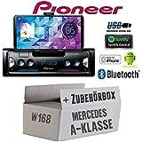 Mercedes A-Klasse W168 - Autoradio Radio Pioneer SPH-10BT - Smartphone Empfänger mit Bluetooth | Spotify | Android | iPhone | 4x50Watt Einbauzubehör - Einbauset
