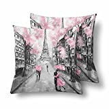 Lepilo Oil Painting Paris European City Street Landscape France Eiffel Tower Pillowcase Throw Pillow Covers 18x18 Set of 2, Pillow Sham Cases Protector for Home Couch Sofa Bedding Decorative