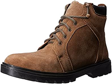 Auserio Men's Brown Leather Boots - 7 UK/India (41 EU)(SS-1012)