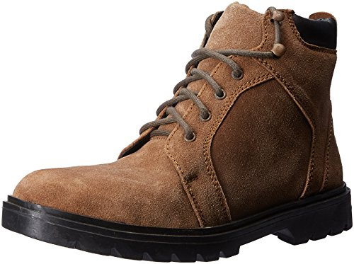 Auserio Men's Brown Leather Boots - 8 UK/India (42 EU)(SS-1012)
