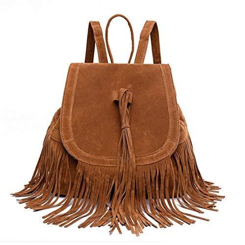 Sunwel Fashion Bag Schulter Quaste Kordelzug PU Leder Tasche Casual Reisen Frauen Outdoor Shopper Beach Schule Schultasche Braun