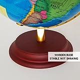 F Fityle 23cm Leuchtglobus Geographische Weltkugel Weltkarte Globus mit Metallständer Kinder Geographie Lernspielzeug - Blau