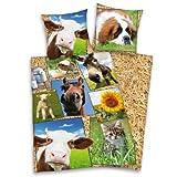 Herding 465132050 Bettwäsche Bauernhof, Kopfkissenbezug 80 x 80 cm und Bettbezug 135 x 200 cm, 100% Baumwolle, flanell/biber