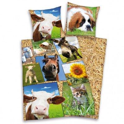 Herding 465132050 Bettwäsche Bauernhof, Kopfkissenbezug 80 x 80 cm und Bettbezug 135 x 200 cm, 100 % Baumwolle, flanell / biber