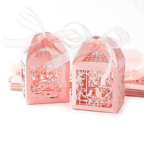 hohlen Bird Style Hochzeitsgeschenk Boxen Candy-Boxen mit Bändern 50stk (rosa) (Zugunsten Candy)