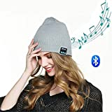 hmilydyk Bluetooth Knit Beanie Hat Hi-Tech Smart Wireless Musik Headset Cap mit abnehmbarer Stereo Lautsprecher & Mikrofon für Outdoor Sport, Best Winter Geschenke für Herren Damen Jungen Mädchen, grau