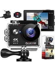 Geekam Underwater Waterproof Sports Digital Action Camcorder Cam WiFi 4K HD 30fps 12MP 170Degree Wide View Angle Remote Control and Helmet Kit Waterproof 100ft