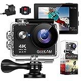 Geekam Action Cam 4K Wasserdichte 30M Unterwasser WiFi Action Kamera 170° Weitwinkelobjektiv Zwei...