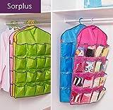 Generic Yellow : 16 Pockets Pink Bluee Over Door Hanging Bag Shoe Rack Hanger Underwear Socks Closet Storage Tidy Organizer
