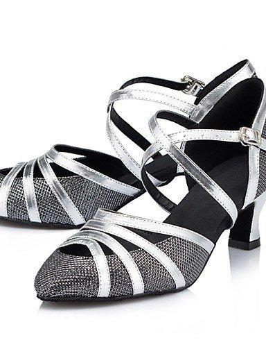 ShangYi Chaussures de danse (Noir/Argent/Autre) - Non personnalisable - Gros talon - Paillettes scintillantes - Moderne champagne