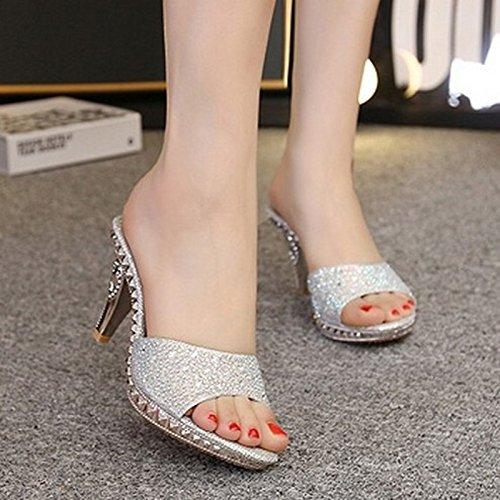ZYUSHIZ Mme diamant synthétique Cool Pantoufles Western l'amende High-Heel Sandales Pantoufles 37
