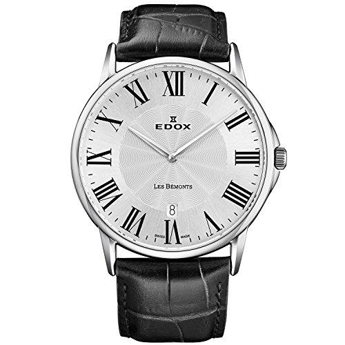 Edox Les Bemonts 56001 3 AR - Reloj de cuarzo para hombre, correa de piel ultrafina, 40 mm