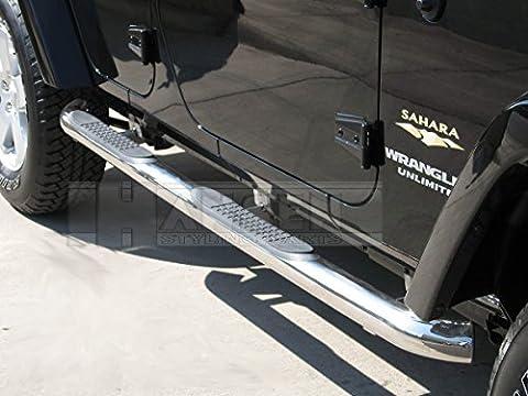 Marchepieds schweller tubes Jeep Wrangler JK de 4portes (2007) (en acier inoxydable) avec partie egutachen certifié TÜV