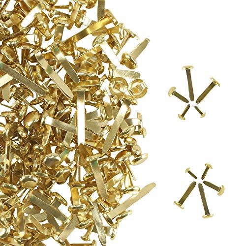 AILANDA 500 Stück Mini Brads Metall Musterklammern Gold Musterbeutelklammern Rundkopfklammern mit Aufbewahrungsbox für Scrapbooking Papier Basteln DIY Kunsthandwerk Deko 5 Größe