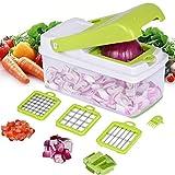 Multifunktions-Gemüseschneider, Schneidemaschine Für Würfelschneider, Multifunktions-Hacker-Gurkenhobel, 3 Auswechselbare Messersätze Und Lebensmittelbehälter
