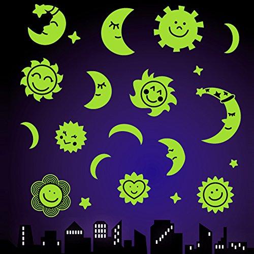 Leuchtsticker für Sternenhimmel Wandsticker, Fluoreszierend, im Dunkeln leuchtend / Sonne Mond uns Sterne