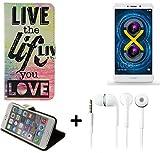 Pour Smartphone Huawei Honor 6X Case 360° Cover 'live the life you love' Fonction Stand Wallet BookStyle Housse Protection Sac Étui Couvervle pour Huawei Honor 6X + Écouteurs meilleur prix, la meilleure performance - K-S-Trade(TM)
