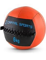 Capital Sports Epitomer Set Wall Ball 6kg 5 Stück Medizinball Set (extra griffiges Handling, geeignet für Core Cross und Functional Training, klassisches Design, vernähtes Kunstleder) orange