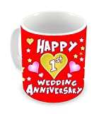 Tied Ribbons Ceramic 1st Wedding Anniversary Gift Coffee Mug, 325 ml, White
