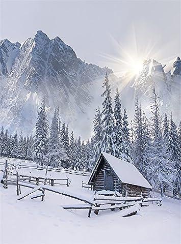 Aaloolaa 1,5x 2,1m Vinyle Photographie Toile de fond Photo fonds Winter Forest Log Cabin Clôture arbres Montagne Snow sols les amateurs de naissance bébé fille Adulte Kid Portrait Accessoires de scène pour studio d'enregistrement de vidéos