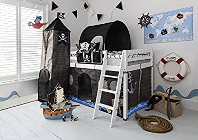 Noa and Nani - Midsleeper Cabin Bed with Pirate Hideaway Tent, Tower, Tunnel and Bed Tidy