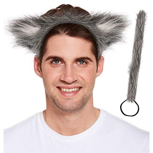 Henbrandt Erwachsene Wolf Ohren und Schwanz Funky Tierkostümzubehör-Set für Book ()