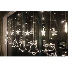 BLOOMWIN Guirnaldas Cadena de Luz cortina de luces LED 3M 138LED 8 modos Navidad luz de la estrella Reno árbol de navidad campanas Luz de Navidad decoración Interior Exterior al aire libre Jardín árbol de navidad Boda Fiesta cumpleaños