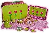 21 tlg. Set Picknick Koffer Metall Geschirr Spiel Küche Zubehör Koffer