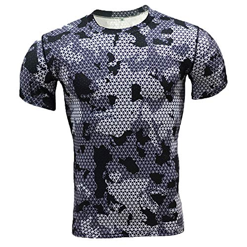WYDHHLD Camo-T-Shirts für Männer, Camouflage Base Layer Laufoberteile Kurzarm Cool Dry Sport T-Shirt, Gym Fitness Workout Top,1,XXL (Herren Kapuzen-base Layer)