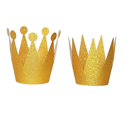 Fablcrew Birthday cap Gold(3Prinzessin Geburtstag Hut + Prinz Geburtstag Hut) Flash Geburtstag Hut Party kleine Krone 6 Anzüge Erwachsener Kindergeburtstagsfeierhut
