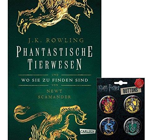 Hogwarts-Schulbuch: Phantastische Tierwesen und wo sie zu finden sind (Hardcover) + 1 Harry Potter Hogwarts Button