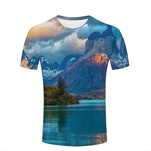 Mens Casual Design 3D Printed Magnificent Snow Mountain/Lake Graphic Short Sleeve Couple T-Shirts Top Tee S (Shirt Short Sleeve Lake)