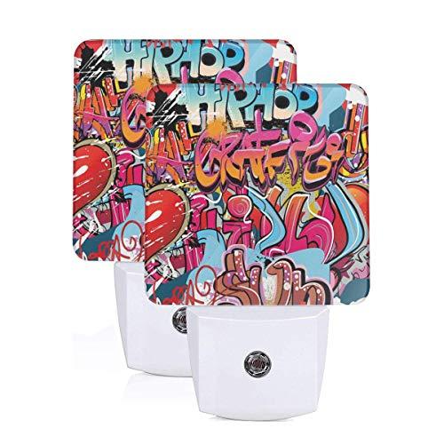 Hip Hop Street Culture Harlem New York City Wall Graffiti Art Spray Artwork Theme Image Auto Sensor LED Dusk to Dawn Night Light Set Of 2 White