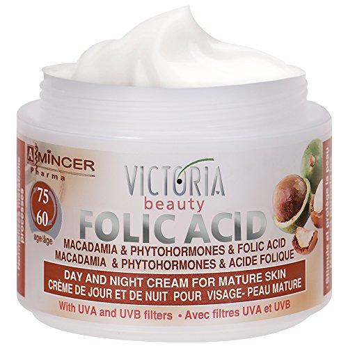 Victoria Beauty – Anti-Falten Augencreme mit Folsäure und Macadamianussöl – Anti-Aging Gesichtscreme (1 x 50 ml) – Tages- und Nachtcreme gegen Schwellungen – Feuchtigkeitscreme ab 60 Jahre
